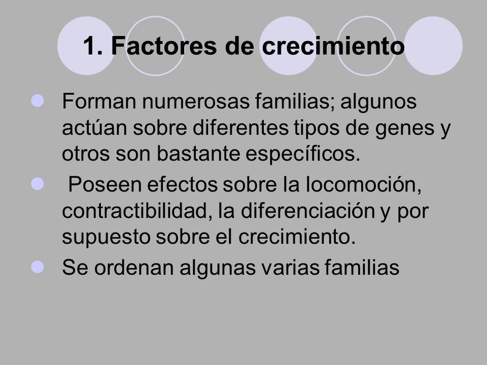 1. Factores de crecimiento Forman numerosas familias; algunos actúan sobre diferentes tipos de genes y otros son bastante específicos. Poseen efectos