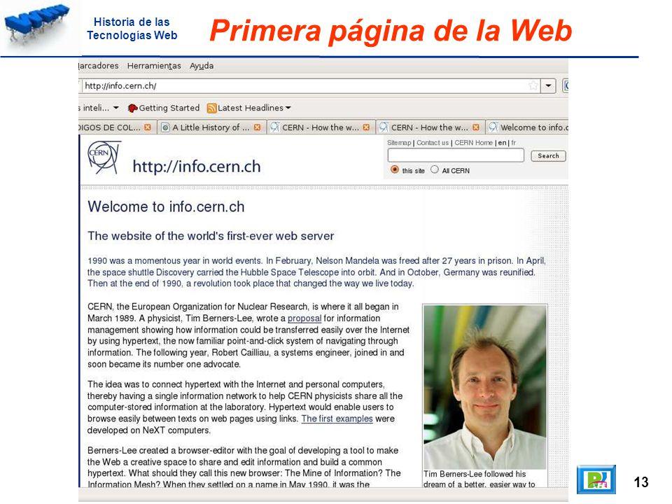 13 Primera página de la Web Historia de las Tecnologías Web