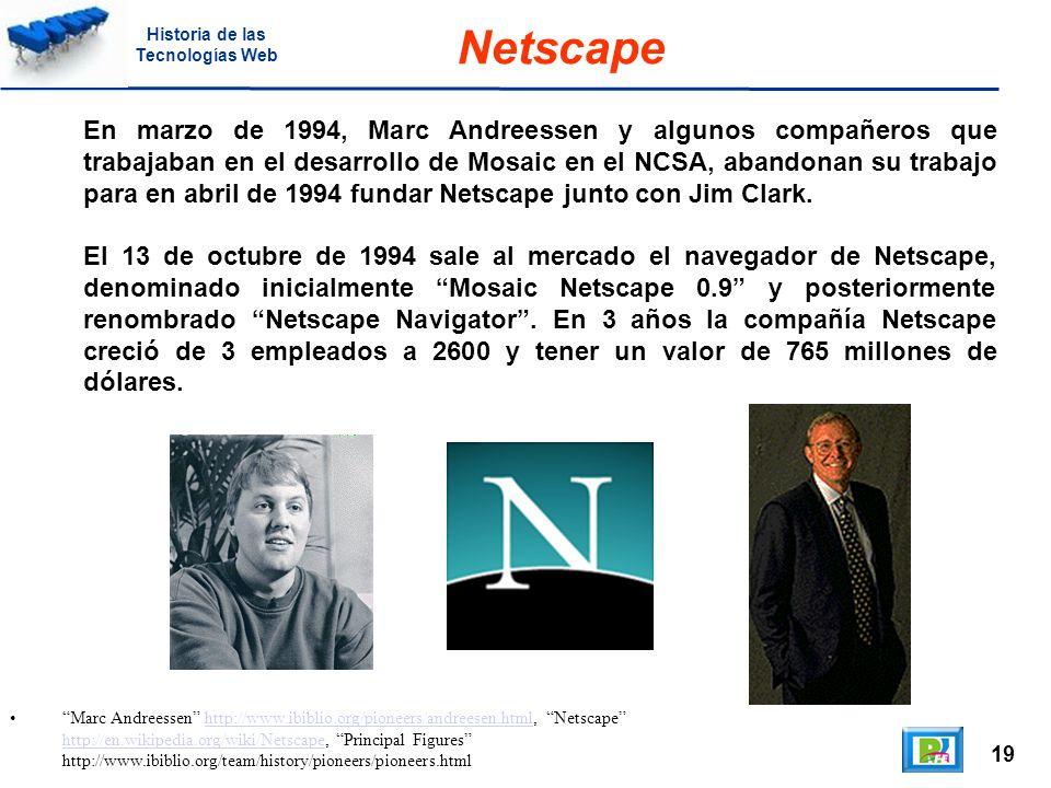 19 Marc Andreessen http://www.ibiblio.org/pioneers/andreesen.html, Netscape http://en.wikipedia.org/wiki/Netscape, Principal Figures http://www.ibiblio.org/team/history/pioneers/pioneers.htmlhttp://www.ibiblio.org/pioneers/andreesen.html http://en.wikipedia.org/wiki/Netscape Netscape En marzo de 1994, Marc Andreessen y algunos compañeros que trabajaban en el desarrollo de Mosaic en el NCSA, abandonan su trabajo para en abril de 1994 fundar Netscape junto con Jim Clark.