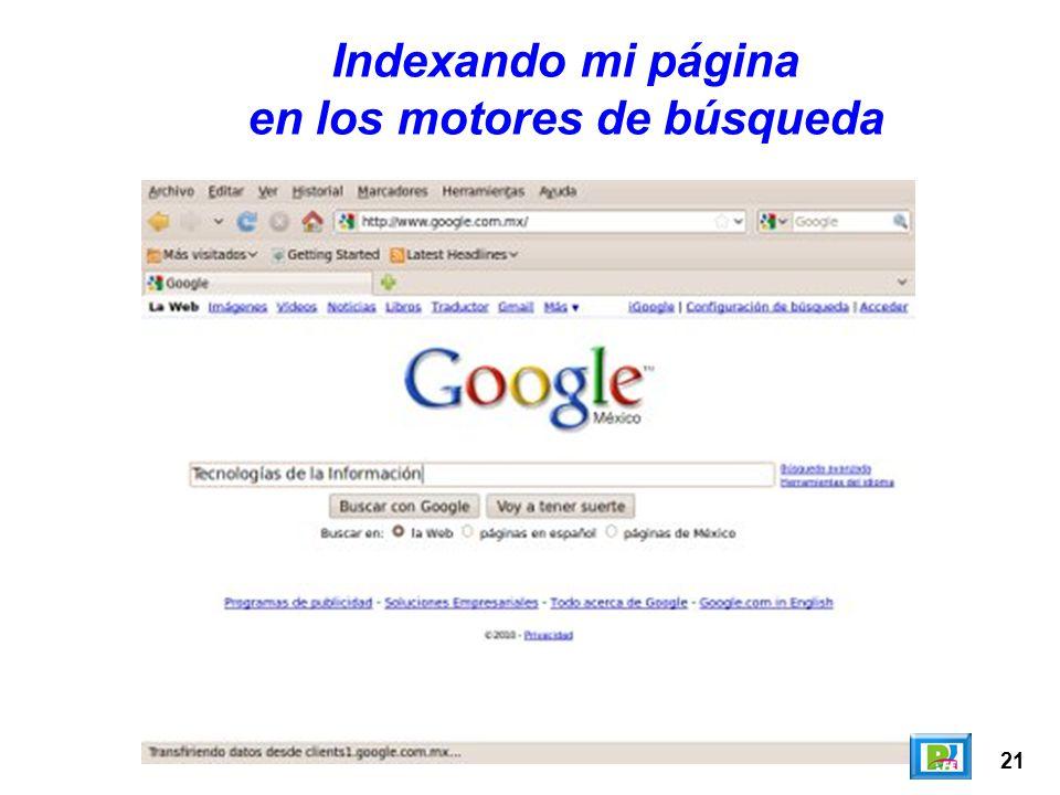 21 Indexando mi página en los motores de búsqueda