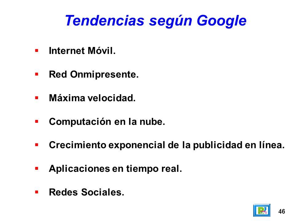 46 Tendencias según Google Internet Móvil. Red Onmipresente. Máxima velocidad. Computación en la nube. Crecimiento exponencial de la publicidad en lín