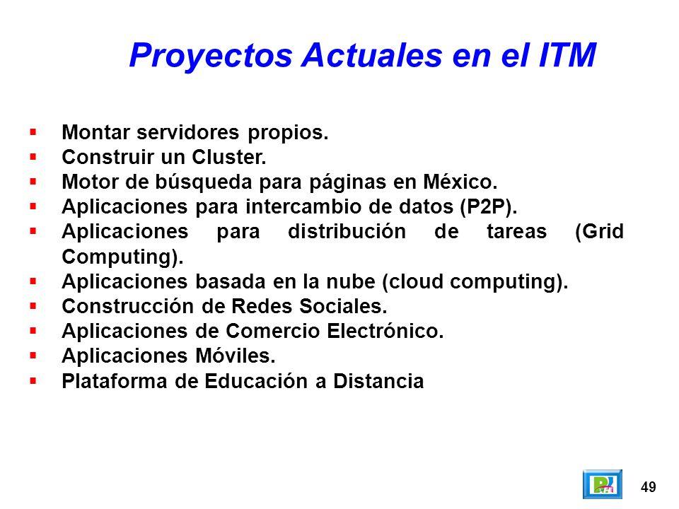 49 Proyectos Actuales en el ITM Montar servidores propios. Construir un Cluster. Motor de búsqueda para páginas en México. Aplicaciones para intercamb