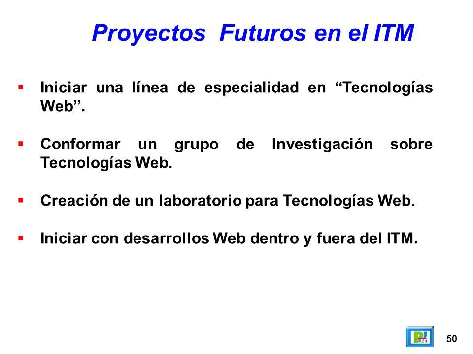 50 Proyectos Futuros en el ITM Iniciar una línea de especialidad en Tecnologías Web. Conformar un grupo de Investigación sobre Tecnologías Web. Creaci