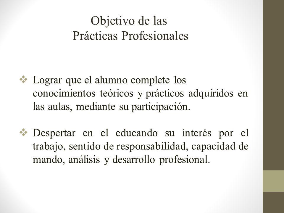 Lograr que el alumno complete los conocimientos teóricos y prácticos adquiridos en las aulas, mediante su participación.