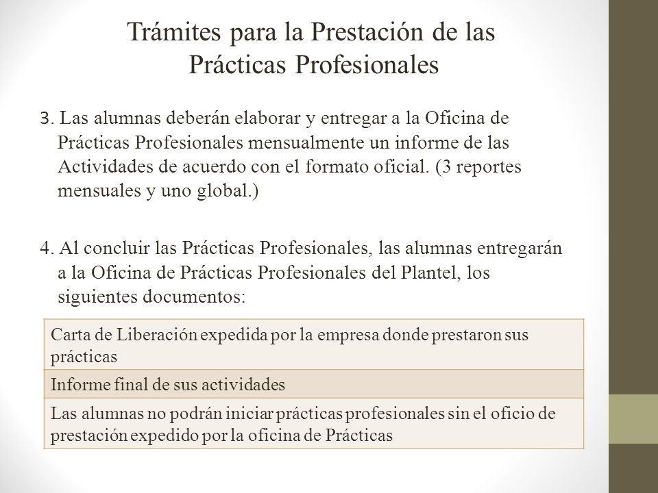 3. Las alumnas deberán elaborar y entregar a la Oficina de Prácticas Profesionales mensualmente un informe de las Actividades de acuerdo con el format