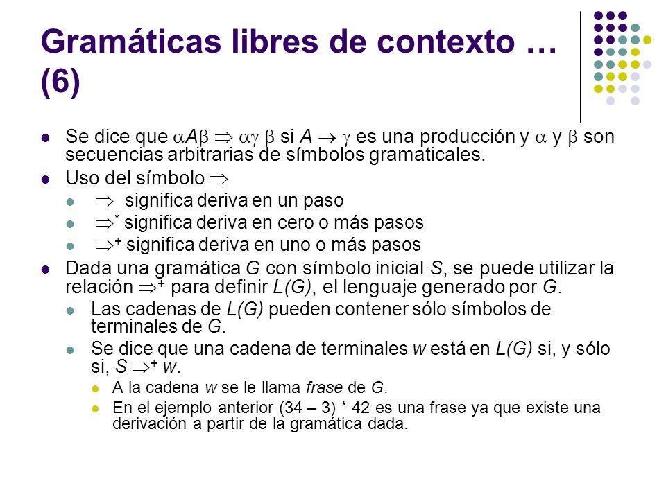 Gramáticas libres de contexto … (6) Se dice que A si A es una producción y y son secuencias arbitrarias de símbolos gramaticales.