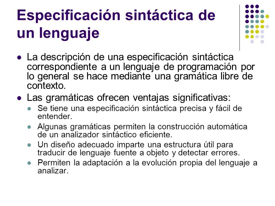 Especificación sintáctica de un lenguaje La descripción de una especificación sintáctica correspondiente a un lenguaje de programación por lo general se hace mediante una gramática libre de contexto.