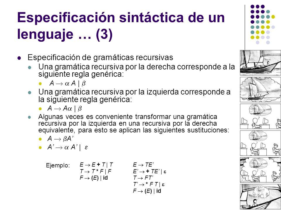 Especificación sintáctica de un lenguaje … (3) Especificación de gramáticas recursivas Una gramática recursiva por la derecha corresponde a la siguiente regla genérica: A A   Una gramática recursiva por la izquierda corresponde a la siguiente regla genérica: A A   Algunas veces es conveniente transformar una gramática recursiva por la izquierda en una recursiva por la derecha equivalente, para esto se aplican las siguientes sustituciones: A A A A   Ejemplo: E E + T   T T T * F   F F (E)   id E TE E + TE   T FT T * F T   F (E)   id