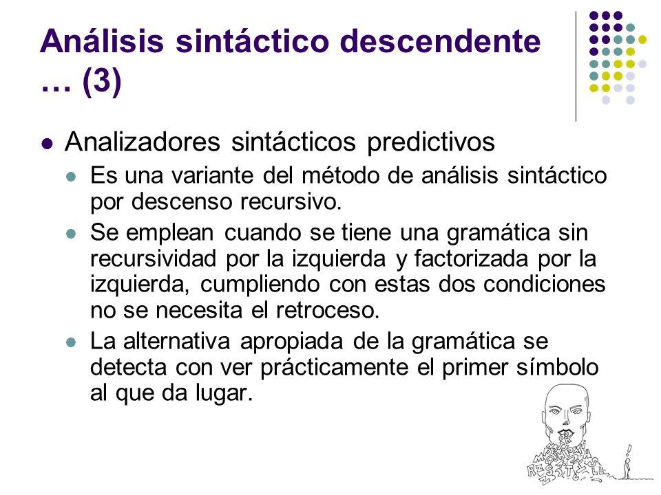 Análisis sintáctico descendente … (3) Analizadores sintácticos predictivos Es una variante del método de análisis sintáctico por descenso recursivo.
