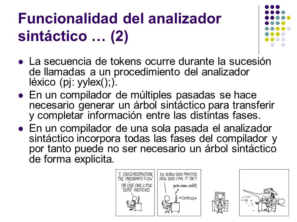 Funcionalidad del analizador sintáctico … (2) La secuencia de tokens ocurre durante la sucesión de llamadas a un procedimiento del analizador léxico (pj: yylex();).