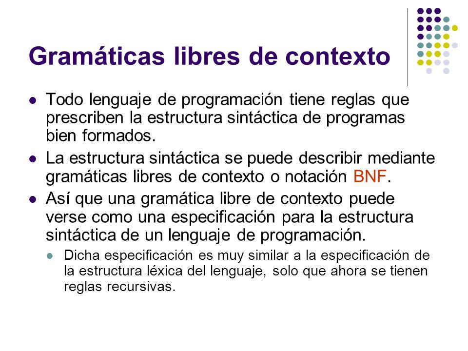 Gramáticas libres de contexto Todo lenguaje de programación tiene reglas que prescriben la estructura sintáctica de programas bien formados.