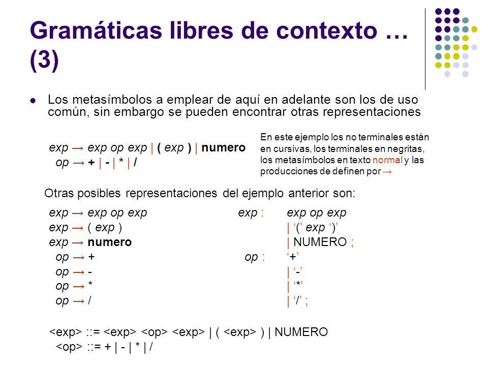 Gramáticas libres de contexto … (4) Algunas convenciones de notación sobre gramáticas libres de contexto Son terminales: Las primeras letras minúsculas del alfabeto (a, b, c) Los símbolos de operador (+, -, etc.) Los símbolos de puntuación (;, (, ), etc.) Los dígitos (0…9) Cadenas en negritas (id, while, etc.) Son símbolos no terminales Las primeras letras del alfabeto (A, B, C) La letra S, que cuando aparece se tomará como el símbolo inicial.