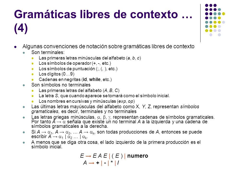 Gramáticas libres de contexto … (5) Derivaciones y el lenguaje definido por una gramática Las reglas gramaticales libres de contexto determinan el conjunto de secuencias sintácticamente legales de tokens para las estructuras definidas por las reglas.