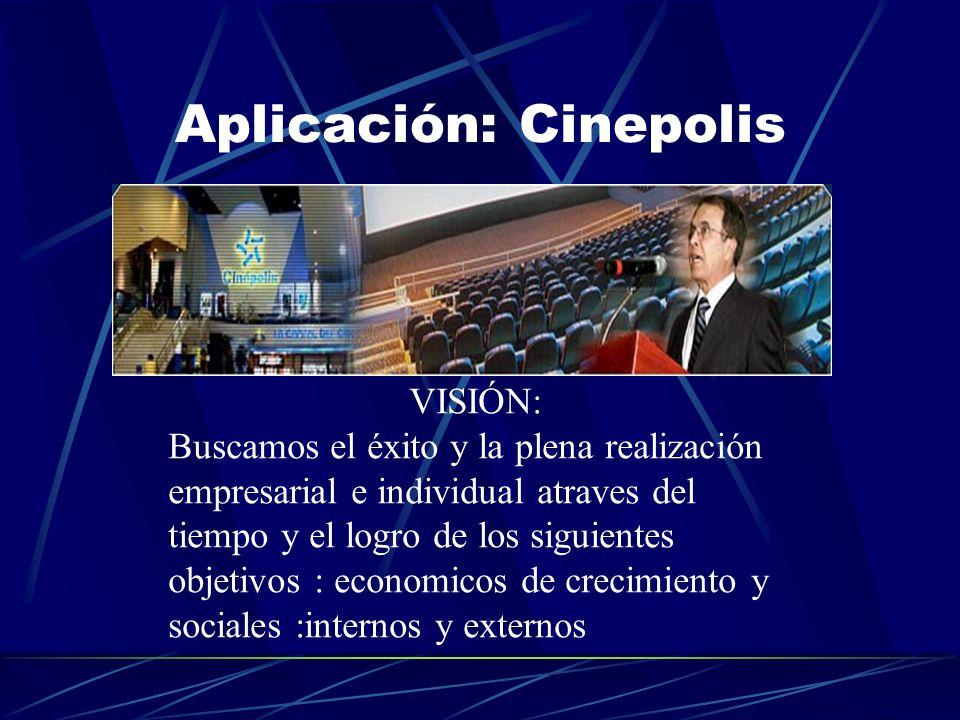 Aplicación: Cinepolis VISIÓN: Buscamos el éxito y la plena realización empresarial e individual atraves del tiempo y el logro de los siguientes objetivos : economicos de crecimiento y sociales :internos y externos