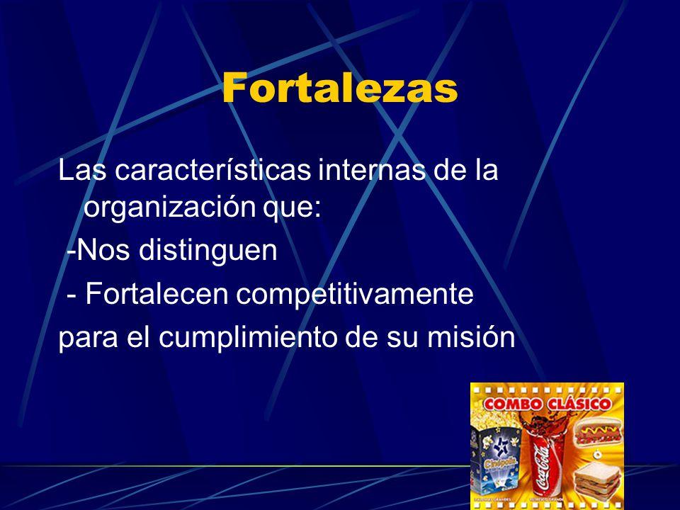 Fortalezas Las características internas de la organización que: -Nos distinguen - Fortalecen competitivamente para el cumplimiento de su misión