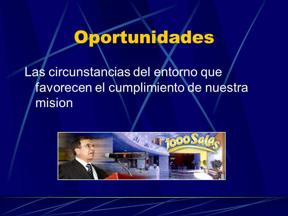 Oportunidades Las circunstancias del entorno que favorecen el cumplimiento de nuestra mision