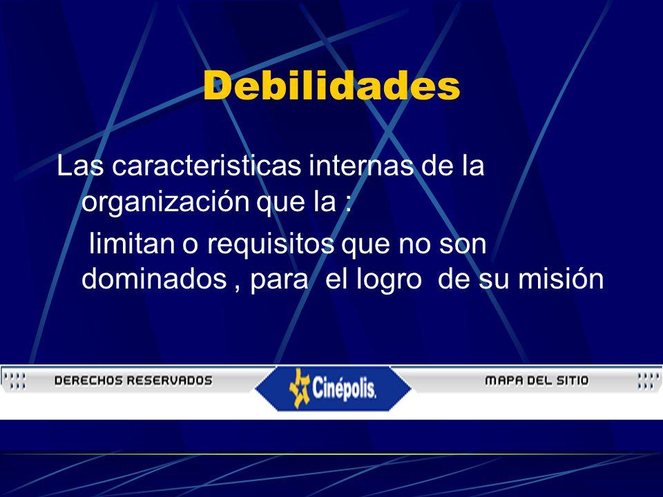 Debilidades Las caracteristicas internas de la organización que la : limitan o requisitos que no son dominados, para el logro de su misión