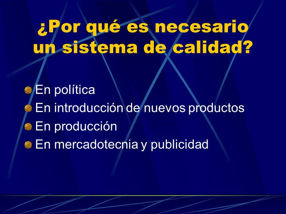 ¿Por qué es necesario un sistema de calidad? En política En introducción de nuevos productos En producción En mercadotecnia y publicidad