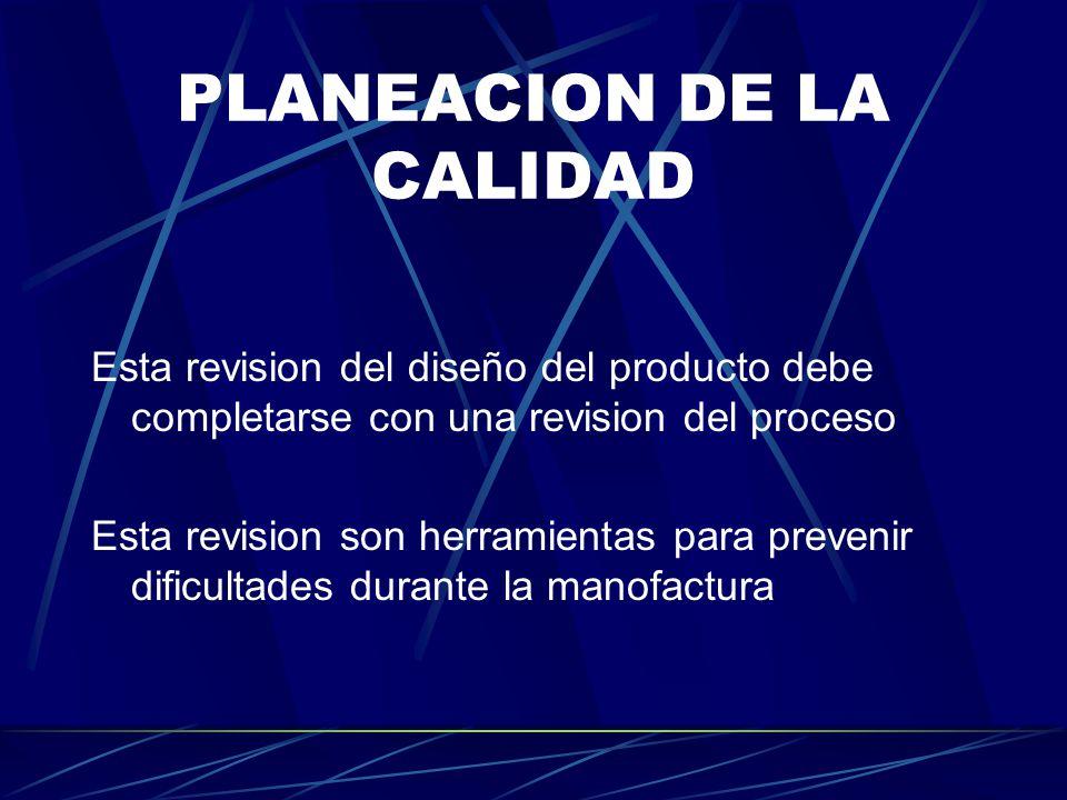 PLANEACION DE LA CALIDAD Esta revision del diseño del producto debe completarse con una revision del proceso Esta revision son herramientas para prevenir dificultades durante la manofactura