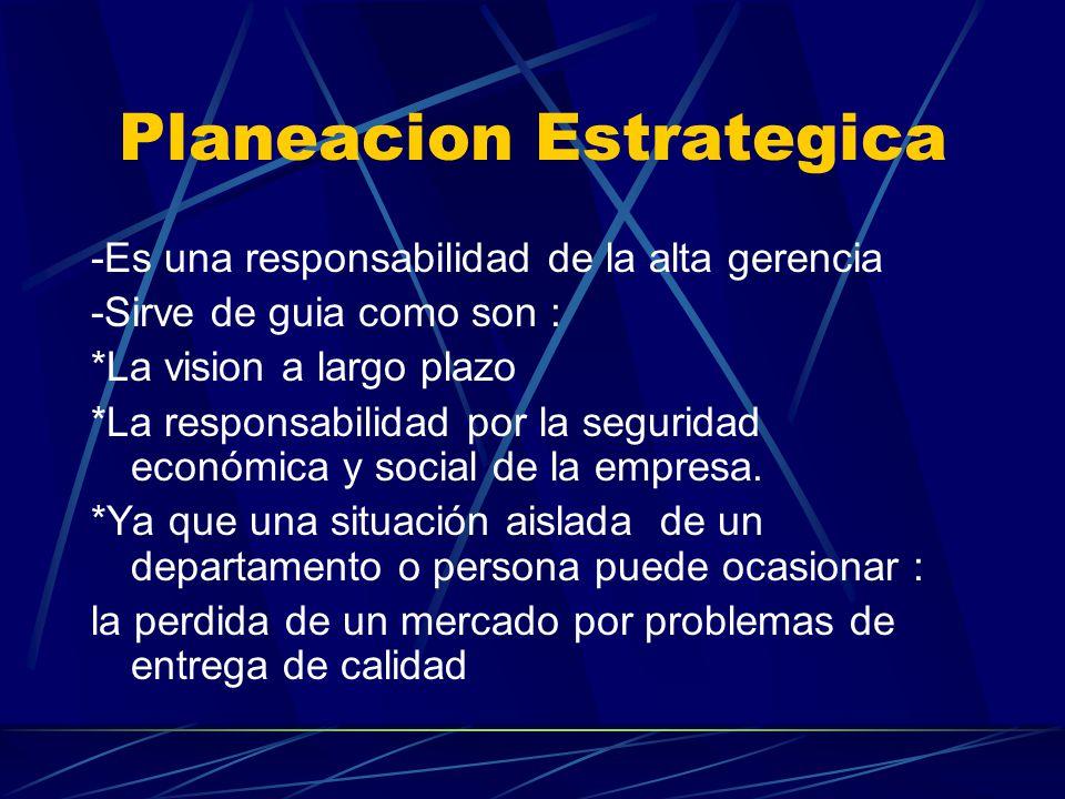 Planeacion Estrategica -Es una responsabilidad de la alta gerencia -Sirve de guia como son : *La vision a largo plazo *La responsabilidad por la segur