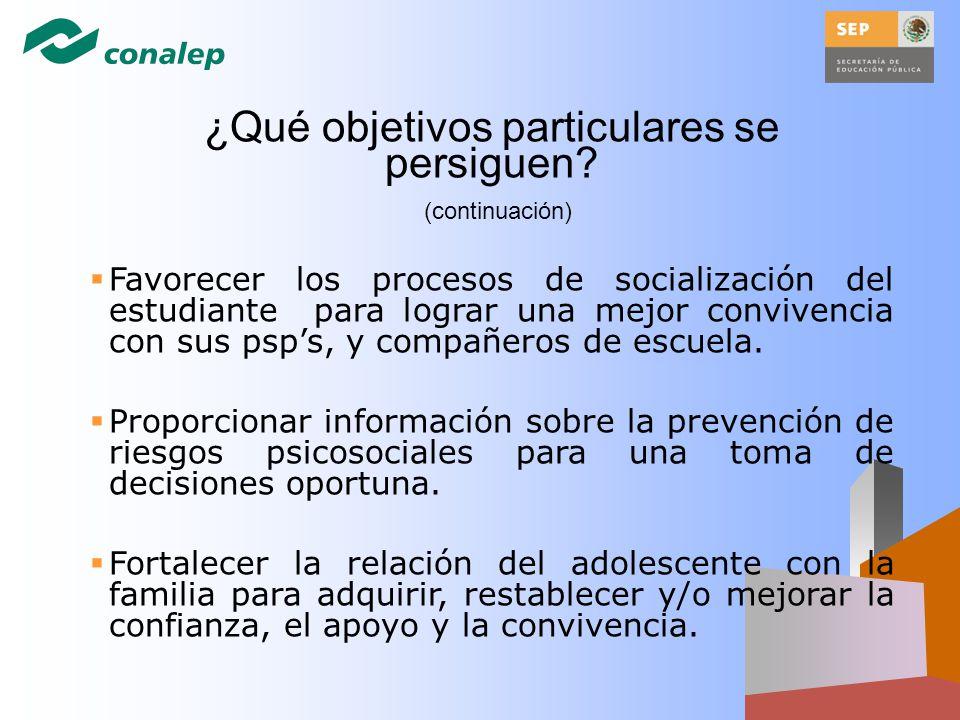 Favorecer los procesos de socialización del estudiante para lograr una mejor convivencia con sus psps, y compañeros de escuela. Proporcionar informaci