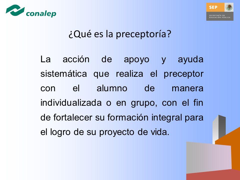 ¿Qué es la preceptoría? La acción de apoyo y ayuda sistemática que realiza el preceptor con el alumno de manera individualizada o en grupo, con el fin