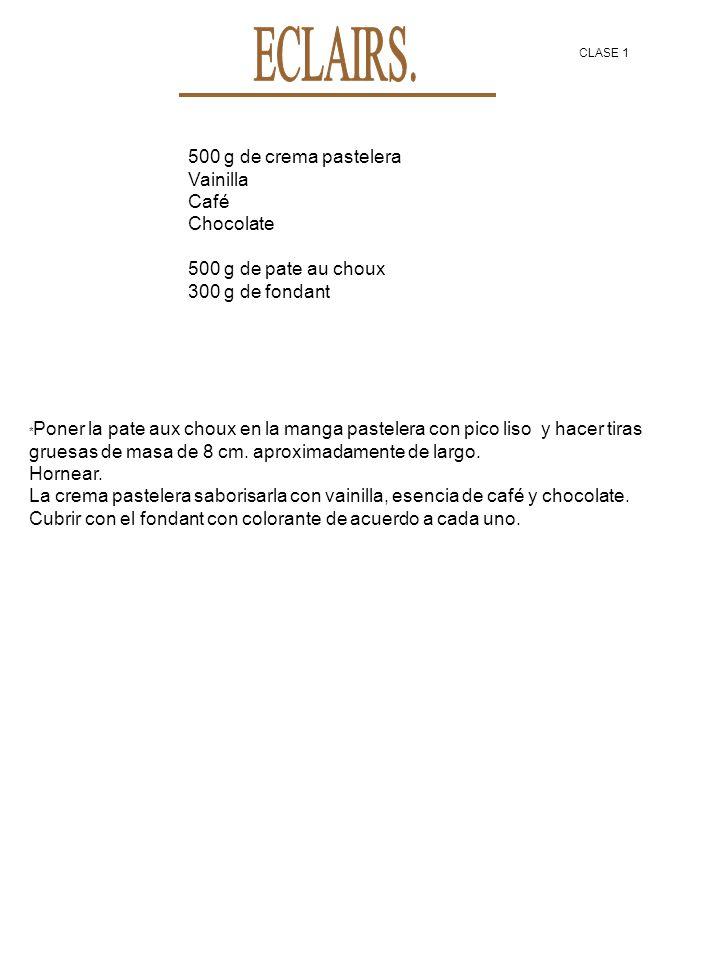 500 g de crema pastelera Vainilla Café Chocolate 500 g de pate au choux 300 g de fondant * Poner la pate aux choux en la manga pastelera con pico liso