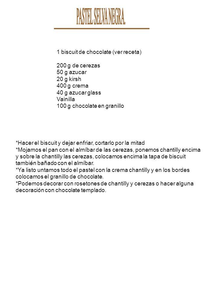 1 biscuit de chocolate (ver receta) 200 g de cerezas 50 g azucar 20 g kirsh 400 g crema 40 g azucar glass Vainilla 100 g chocolate en granillo *Hacer