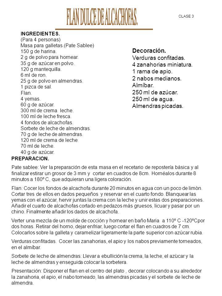 INGREDIENTES. (Para 4 personas) Masa para galletas.(Pate Sablee) 150 g de harina. 2 g de polvo para hornear. 35 g de azúcar en polvo. 120 g mantequill