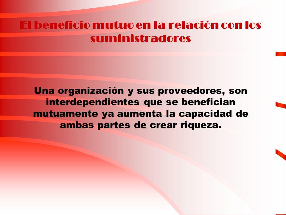 El beneficio mutuo en la relación con los suministradores Una organización y sus proveedores, son interdependientes que se benefician mutuamente ya au