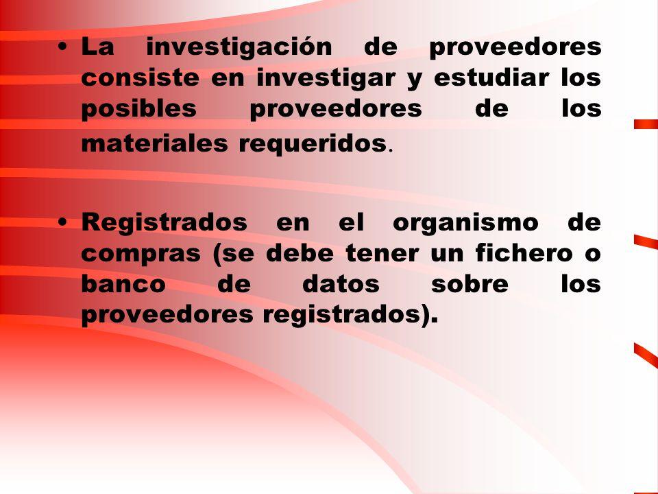 La investigación de proveedores consiste en investigar y estudiar los posibles proveedores de los materiales requeridos. Registrados en el organismo d