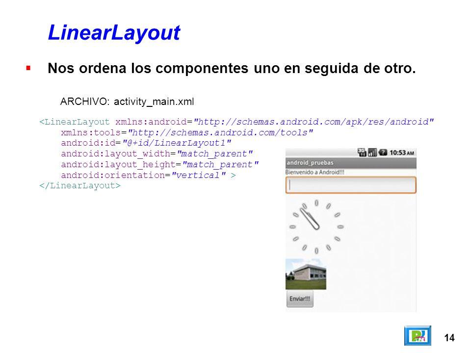 14 LinearLayout Nos ordena los componentes uno en seguida de otro.