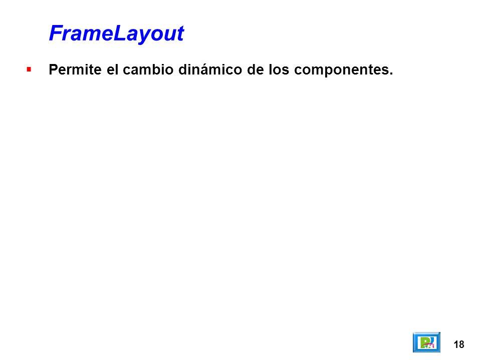 18 FrameLayout Permite el cambio dinámico de los componentes.