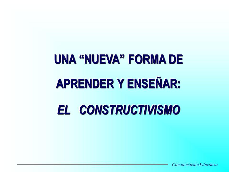 UNA NUEVA FORMA DE APRENDER Y ENSEÑAR: EL CONSTRUCTIVISMO UNA NUEVA FORMA DE APRENDER Y ENSEÑAR: EL CONSTRUCTIVISMO Comunicación Educativa
