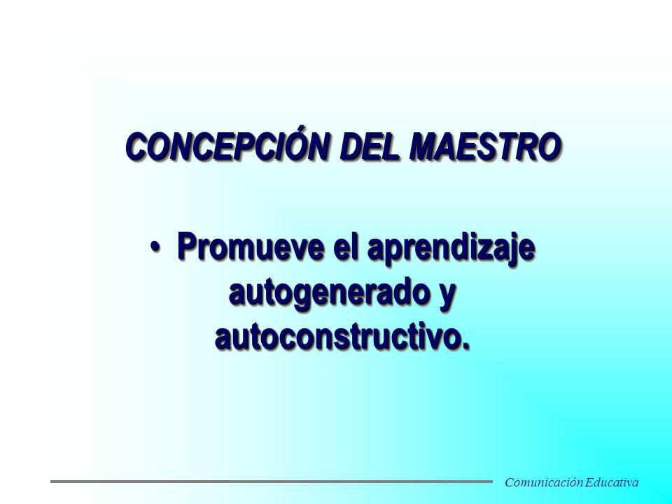 Promueve el aprendizaje autogenerado y autoconstructivo. Promueve el aprendizaje autogenerado y autoconstructivo. CONCEPCIÓN DEL MAESTRO Comunicación