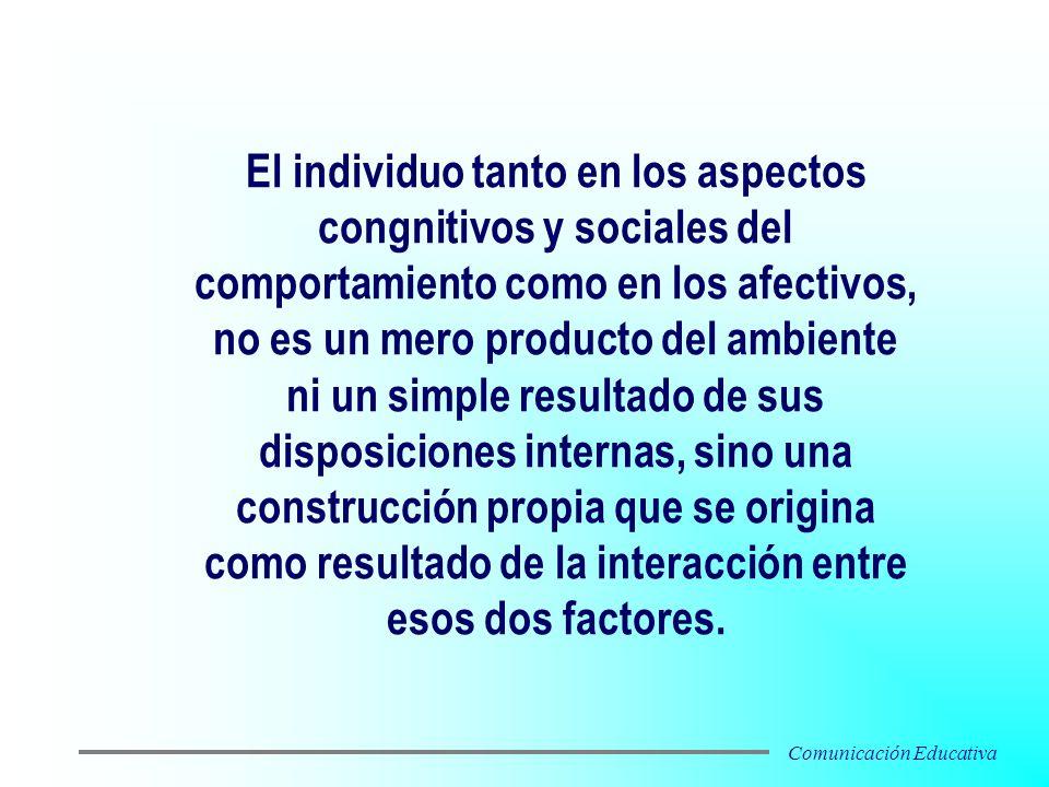 El individuo tanto en los aspectos congnitivos y sociales del comportamiento como en los afectivos, no es un mero producto del ambiente ni un simple r