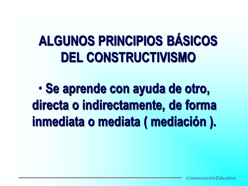 Se aprende con ayuda de otro, directa o indirectamente, de forma inmediata o mediata ( mediación ). ALGUNOS PRINCIPIOS BÁSICOS DEL CONSTRUCTIVISMO Com