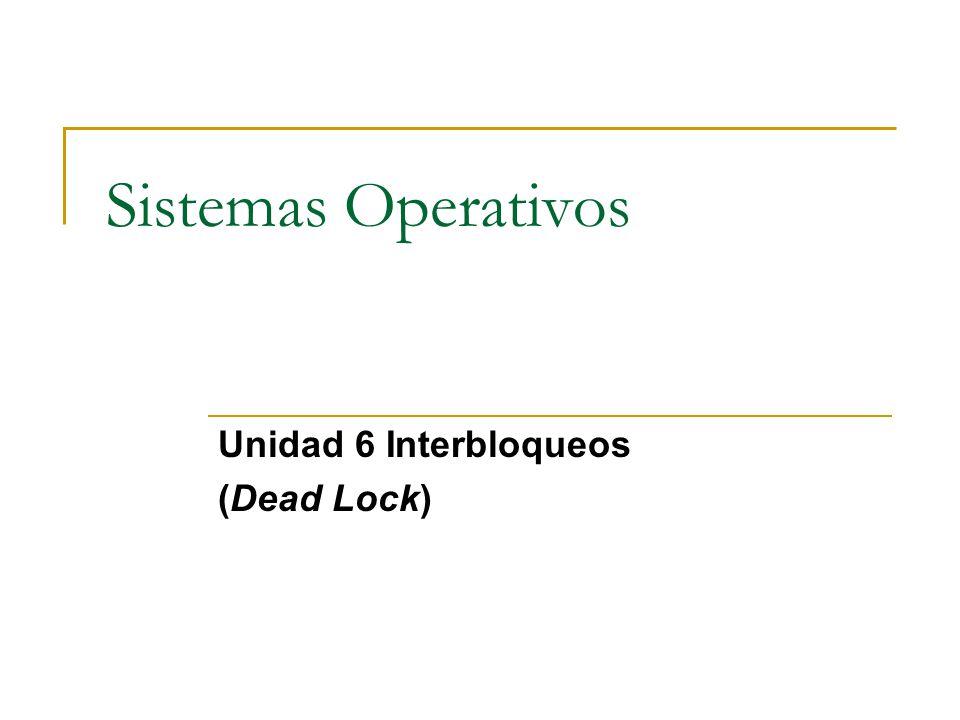 Sistemas Operativos Unidad 6 Interbloqueos (Dead Lock)