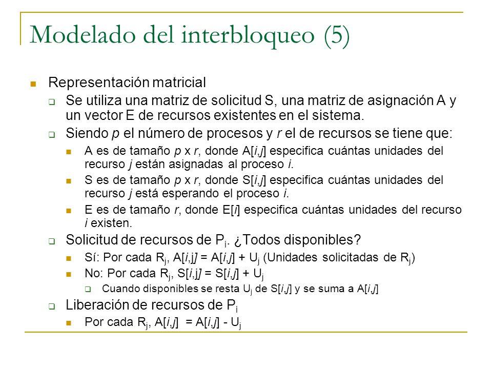 Modelado del interbloqueo (5) Representación matricial Se utiliza una matriz de solicitud S, una matriz de asignación A y un vector E de recursos exis