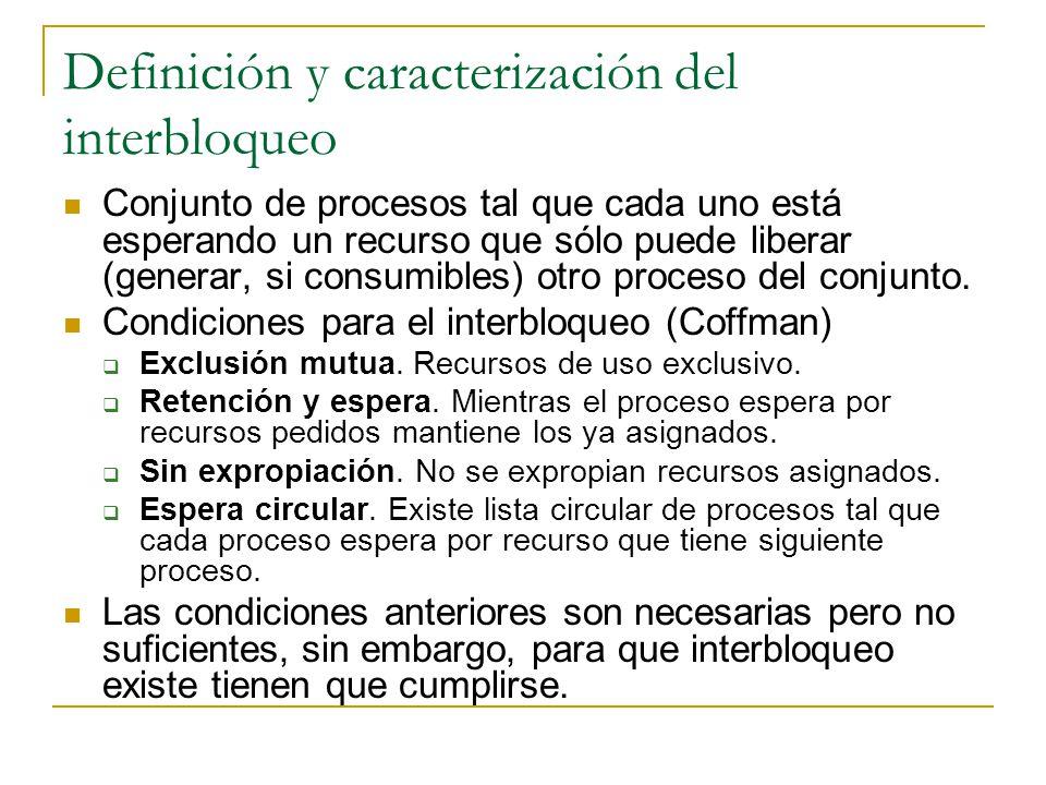 Definición y caracterización del interbloqueo Conjunto de procesos tal que cada uno está esperando un recurso que sólo puede liberar (generar, si cons