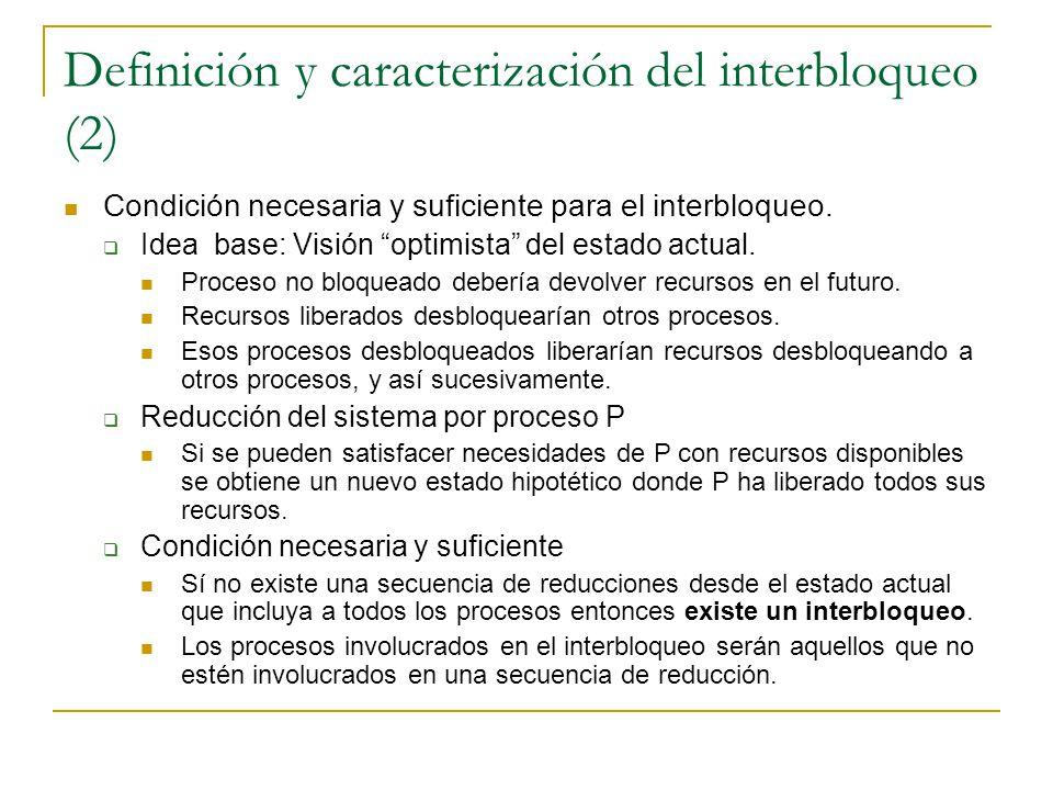 Definición y caracterización del interbloqueo (2) Condición necesaria y suficiente para el interbloqueo. Idea base: Visión optimista del estado actual