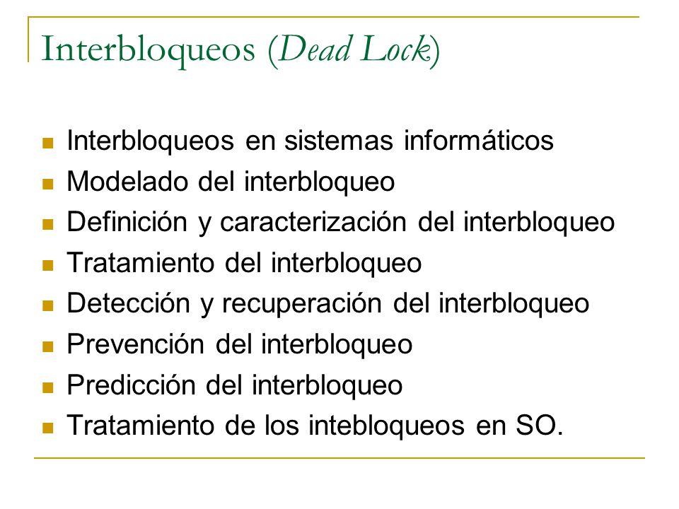 Interbloqueos (Dead Lock) Interbloqueos en sistemas informáticos Modelado del interbloqueo Definición y caracterización del interbloqueo Tratamiento d