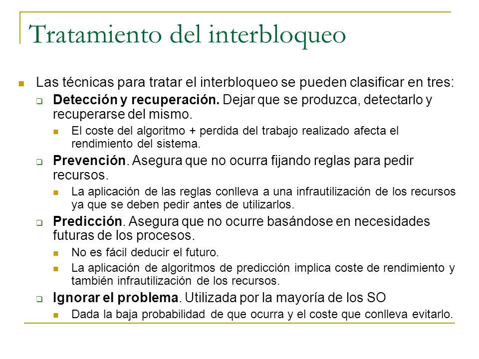 Tratamiento del interbloqueo Las técnicas para tratar el interbloqueo se pueden clasificar en tres: Detección y recuperación. Dejar que se produzca, d