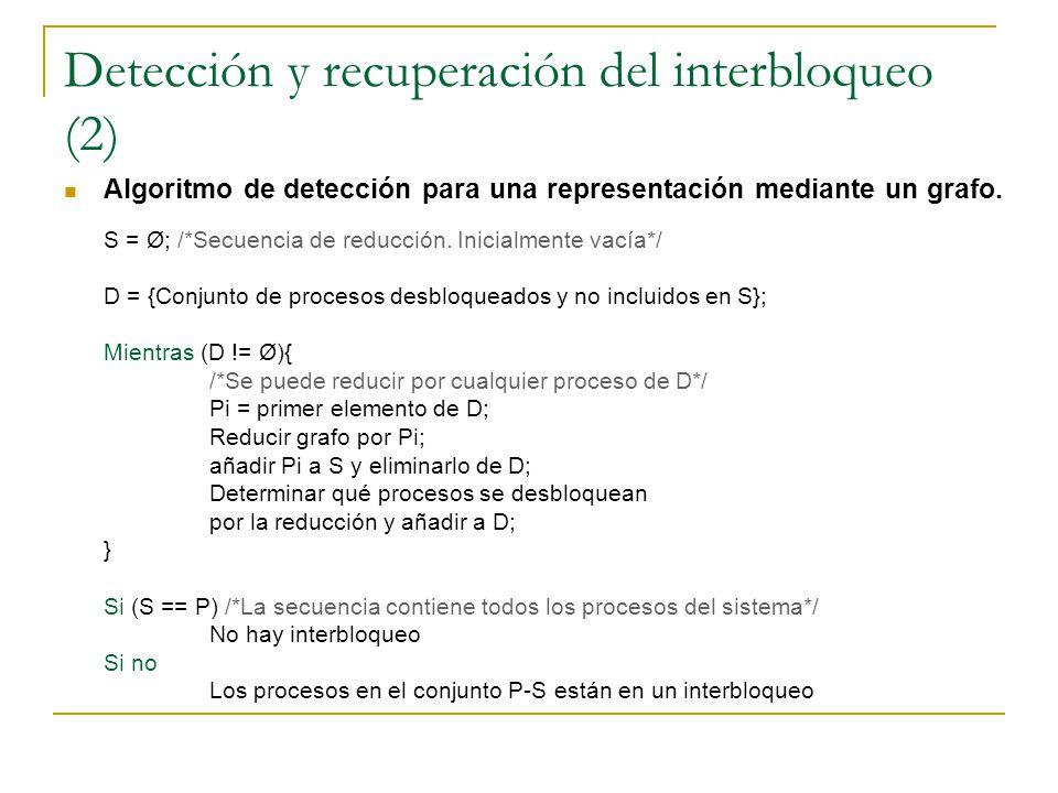 Detección y recuperación del interbloqueo (2) Algoritmo de detección para una representación mediante un grafo. S = Ø; /*Secuencia de reducción. Inici
