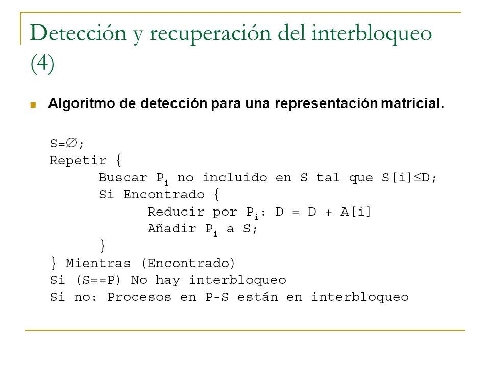 Detección y recuperación del interbloqueo (4) Algoritmo de detección para una representación matricial.