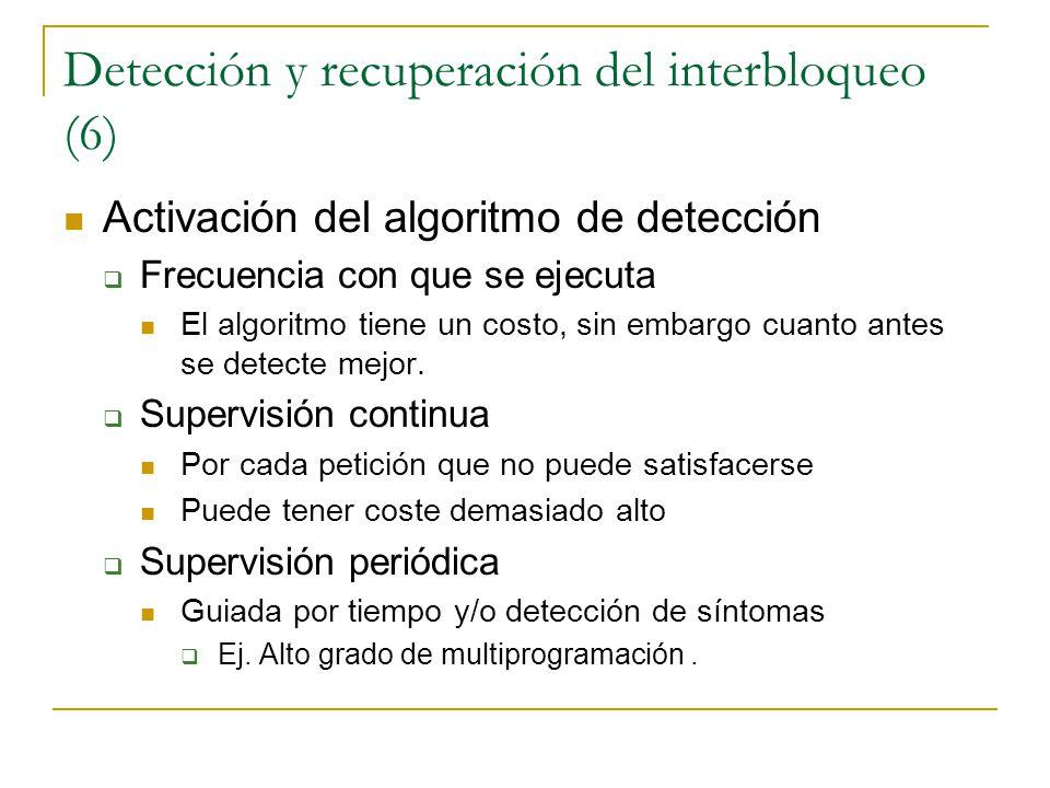 Detección y recuperación del interbloqueo (6) Activación del algoritmo de detección Frecuencia con que se ejecuta El algoritmo tiene un costo, sin emb