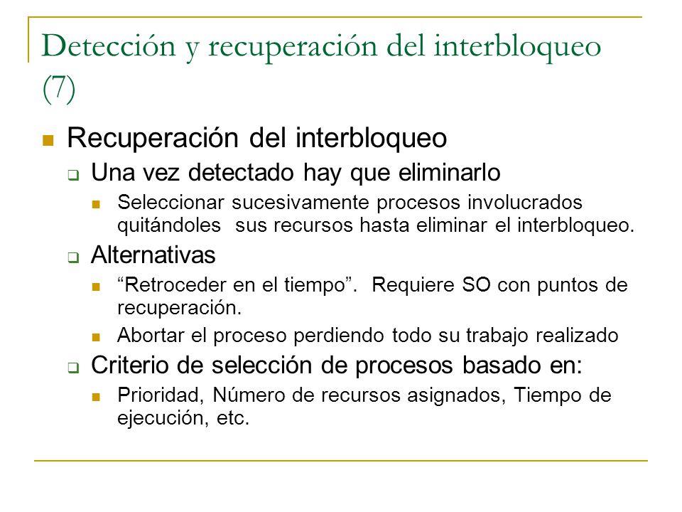 Detección y recuperación del interbloqueo (7) Recuperación del interbloqueo Una vez detectado hay que eliminarlo Seleccionar sucesivamente procesos in