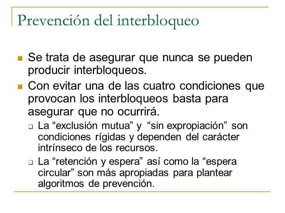 Prevención del interbloqueo Se trata de asegurar que nunca se pueden producir interbloqueos. Con evitar una de las cuatro condiciones que provocan los