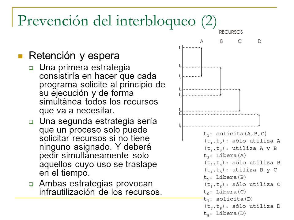Prevención del interbloqueo (2) Retención y espera Una primera estrategia consistiría en hacer que cada programa solicite al principio de su ejecución