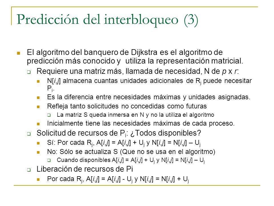 Predicción del interbloqueo (3) El algoritmo del banquero de Dijkstra es el algoritmo de predicción más conocido y utiliza la representación matricial